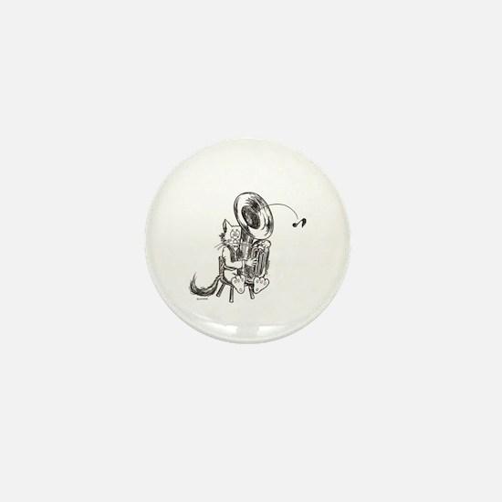 Catoons tuba cat Mini Button