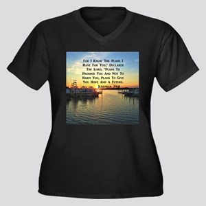 JEREMIAH 29: Women's Plus Size V-Neck Dark T-Shirt