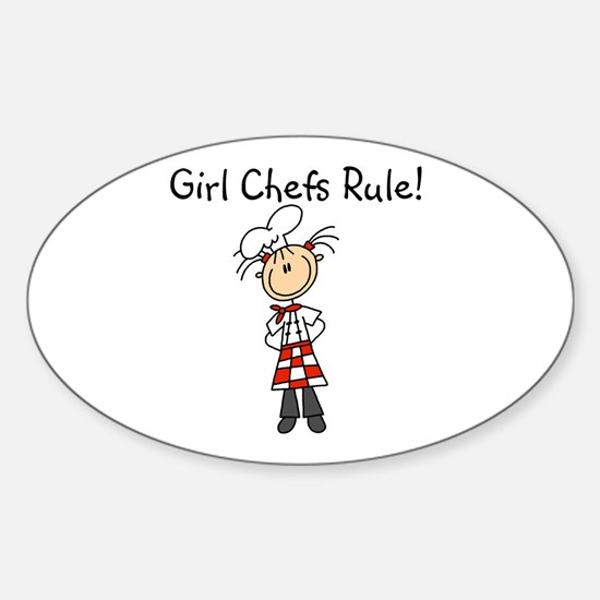 Girl Chefs Rule Oval Decal