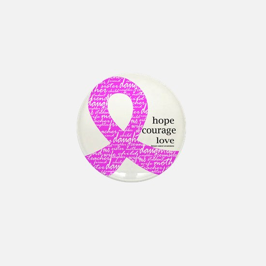 Breast Cancer Ribbons Mini Button