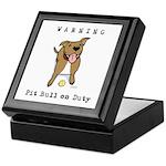 Cute Pit Bull Warning Keepsake Box