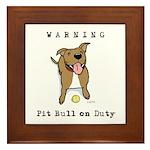 Cute Pit Bull Warning Framed Tile