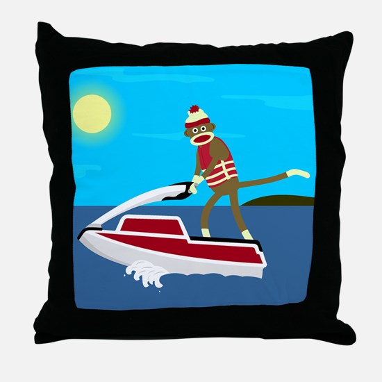 Sock Monkey Jet Ski Throw Pillow