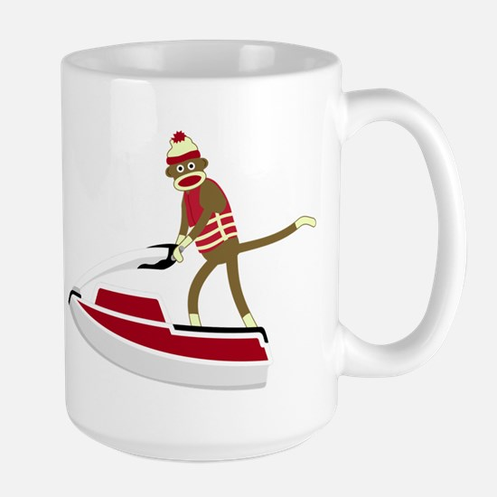 Sock Monkey Jet Ski Large Coffee Mug
