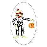 Sock Monkey Halloween Sticker (Oval)