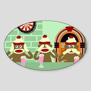 No Evil Sock Monkey Ice Cream Oval Sticker