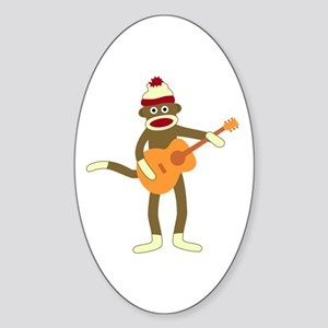 Sock Monkey Acoustic Guitar Oval Sticker