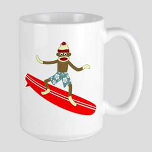 Sock Monkey Surfer Large Coffee Mug