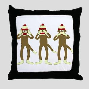 No Evil Sock Monkeys Throw Pillow