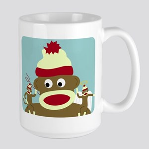 Sock Monkey Angel Devil Large Mug