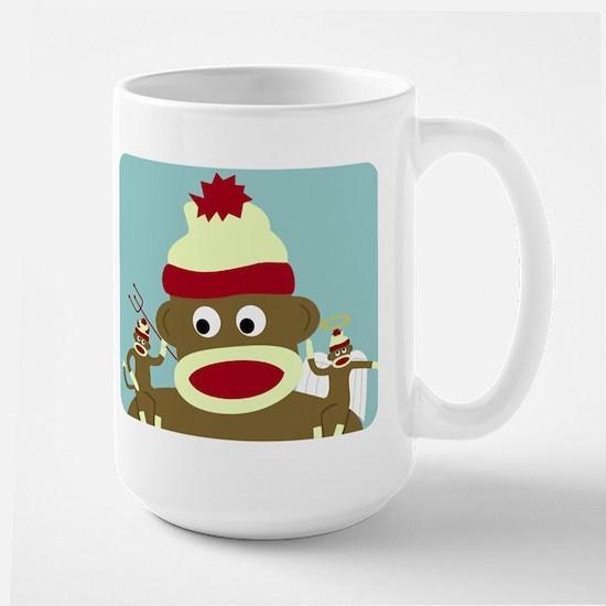 Sock Monkey Angel Devil Large Mug