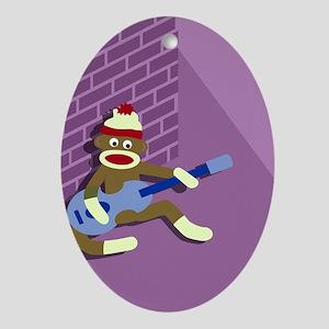 Sock Monkey Blue Guitar Oval Ornament