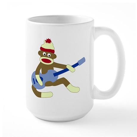 Sock Monkey Blue Guitar Large Coffee Mug