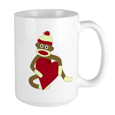 Sock Monkey Red Heart Large Coffee Mug