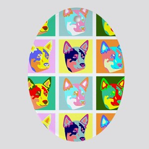 Australian Cattle Dog Pop Art Oval Ornament