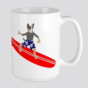 Australian Cattle Dog Surfer Large Coffee Mug