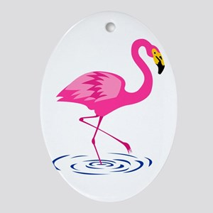 Pink Flamingo on One Leg Oval Ornament