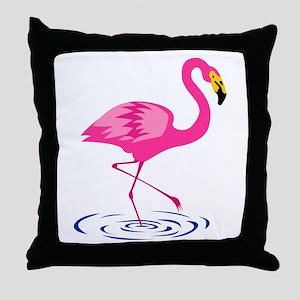 Pink Flamingo on One Leg Throw Pillow
