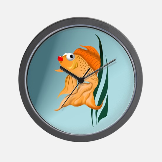 Fancy Gold Fish Wall Clock