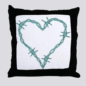 Barbed Wire Heart Throw Pillow
