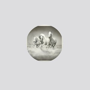 Wild White Horses Mini Button