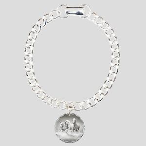 Wild White Horses Charm Bracelet, One Charm