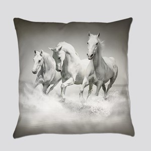 Wild White Horses Everyday Pillow