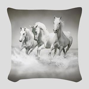 Wild White Horses Woven Throw Pillow