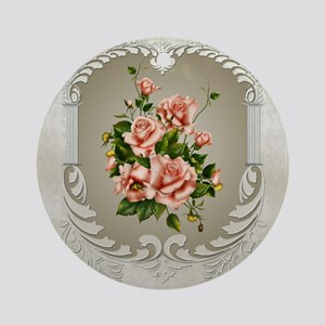 Victorian Roses Round Ornament
