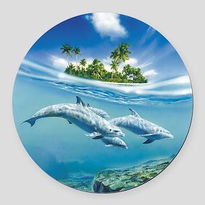Tropical Island Fantasy Round Car Magnet