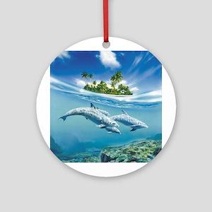 Tropical Island Fantasy Round Ornament