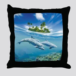Tropical Island Fantasy Throw Pillow