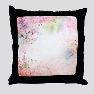 Pink Watercolor Floral Throw Pillow