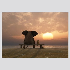Elephant And Dog Friends Wall Art