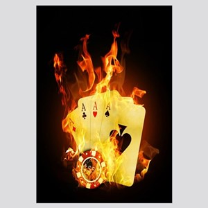 Burning Poker Cards Wall Art