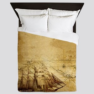 Old Ship Map Queen Duvet