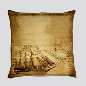 Old Ship Map Everyday Pillow