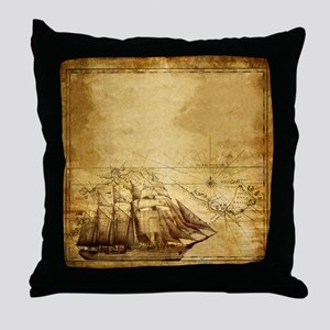 Old Ship Map Throw Pillow