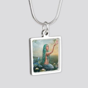 Marine Mermaid Silver Square Necklace