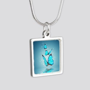 Magic Butterflies Silver Square Necklace