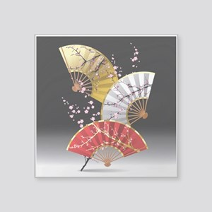 "Japanese Cherry Fans Square Sticker 3"" x 3"""