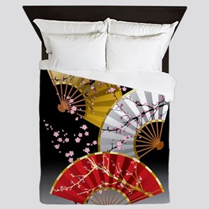 Japanese Cherry Fans Queen Duvet