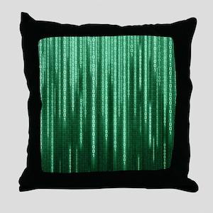 Green Binary Rain Throw Pillow