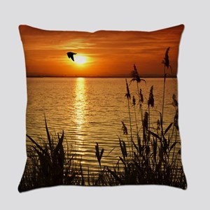 Golden Zen Sunset Everyday Pillow