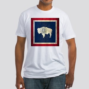Grunge Wyoming Flag Fitted T-Shirt