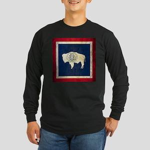Grunge Wyoming Flag Long Sleeve Dark T-Shirt