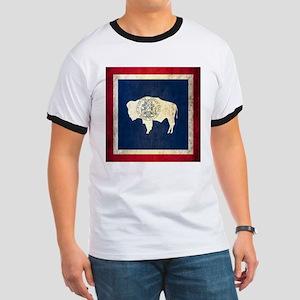 Grunge Wyoming Flag Ringer T