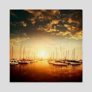 Golden Marina Sunset Queen Duvet