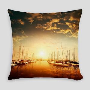Golden Marina Sunset Everyday Pillow