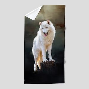 Arctic wolf Beach Towel